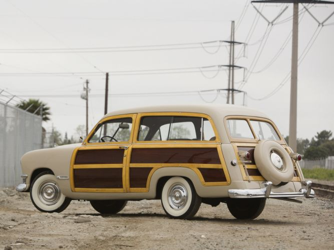 1950 Ford Custom DeLuxe Country Squire retro woody stationwagon r wallpaper