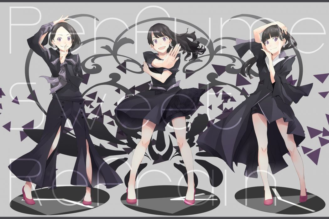 a~chan black hair dress kashiyuka nocchi perfume purple eyes yoshito wallpaper