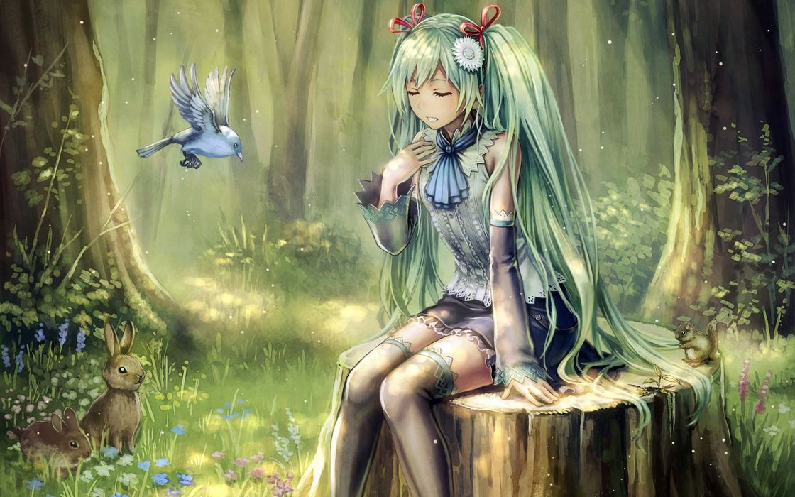 anbe yoshirou animal bird dress flowers forest grass green hair hatsune miku rabbit ribbons thighhighs tree twintails vocaloid wallpaper