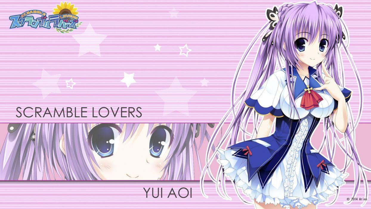 aoi yui aries long hair purple hair scramble lovers seifuku tagme (artist) twintails wallpaper