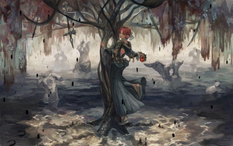 apple oca pixiv fantasia red hair tree water wallpaper