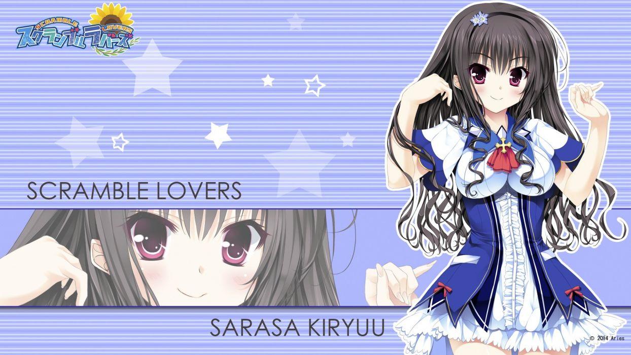 aries black hair blush kiryuu sarasa long hair scramble lovers seifuku tagme (artist) wallpaper