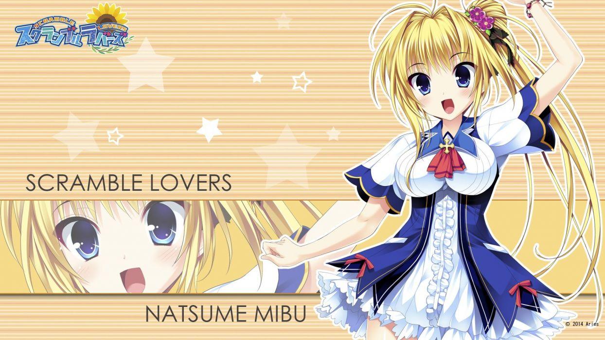 aries blonde hair blue eyes long hair mibu natsume scramble lovers seifuku tagme (artist) wallpaper