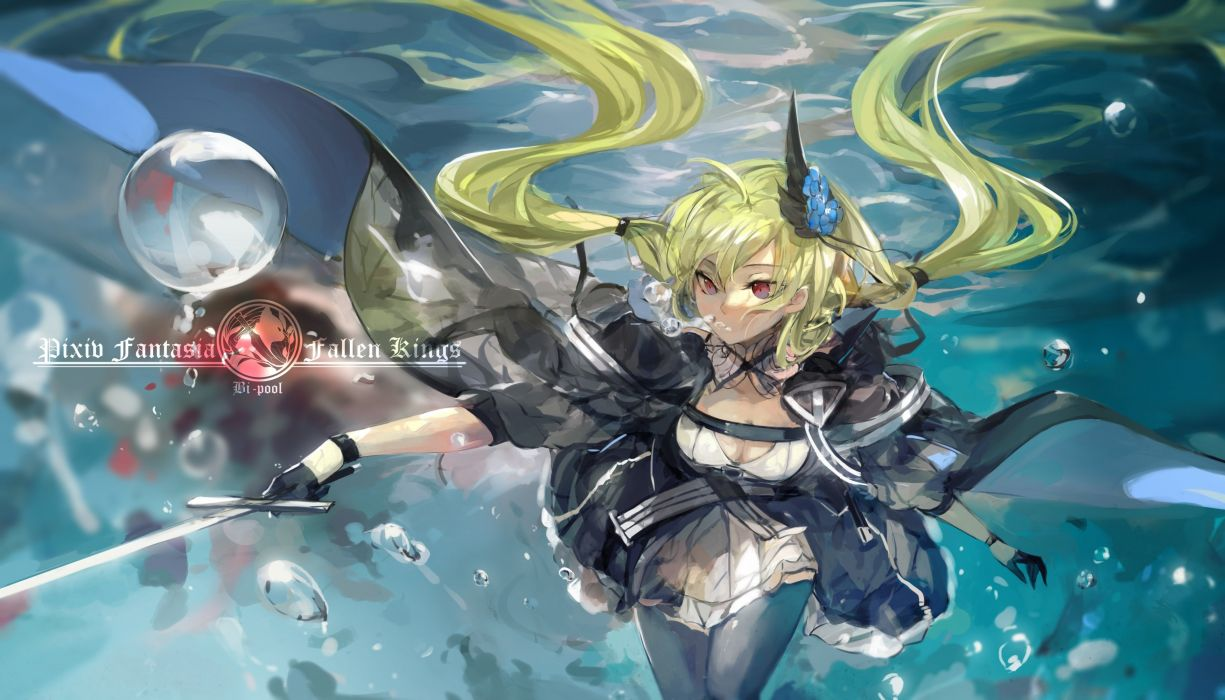 armeechef blonde hair breasts bubbles cleavage dress flowers pixiv fantasia red eyes saberiii sword twintails underwater vampire water weapon wet wallpaper