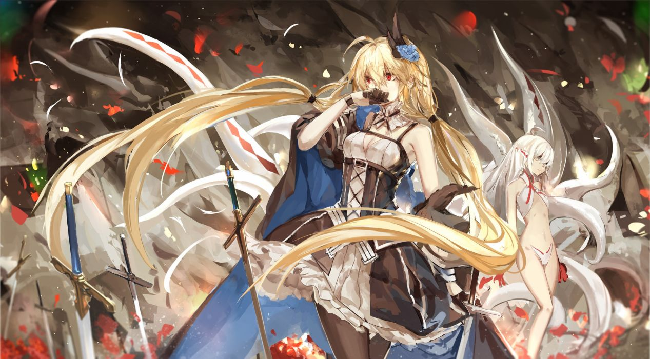 armeechef blonde hair breasts cleavage dress fire long hair multiple tails pixiv fantasia red eyes saberiii sword tail twintails vampire weapon wallpaper