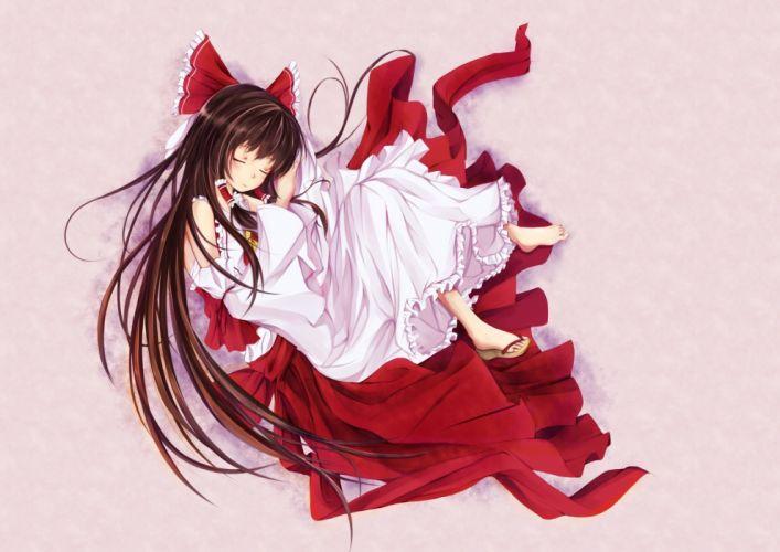barefoot brown hair hakurei reimu japanese clothes long hair miko sleeping touhou yingji (zszero) wallpaper