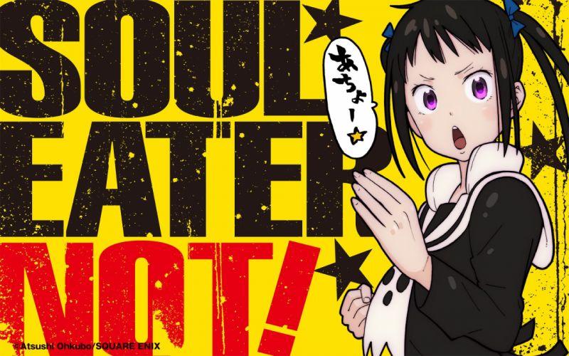 black hair harudori tsumugi ookubo atsushi pink eyes seifuku soul eater not! translation request twintails watermark wallpaper