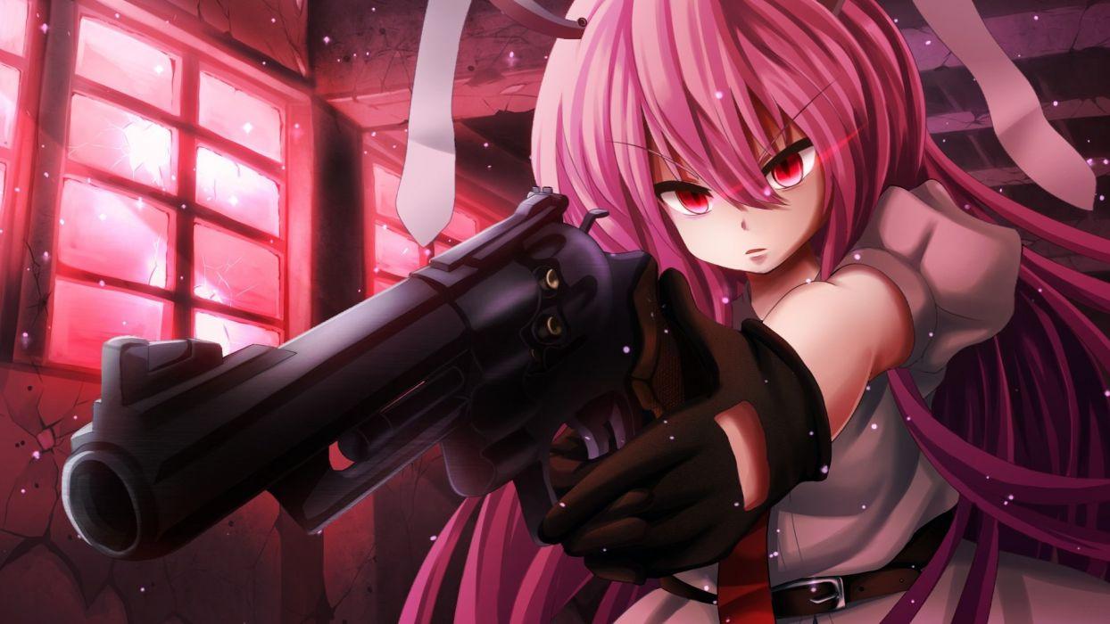 bunny ears gloves gun pink hair red eyes reisen udongein inaba t_m (aqua6233) touhou weapon wallpaper