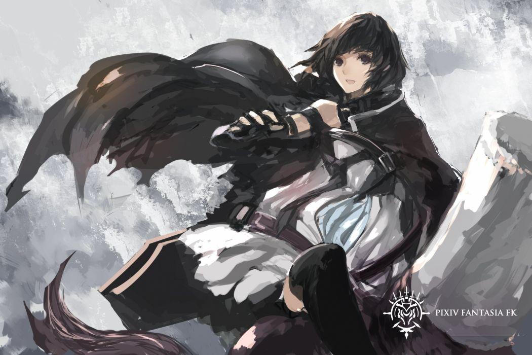cape dress elbow gloves pixiv fantasia short hair swd3e2 sword thighhighs weapon wallpaper