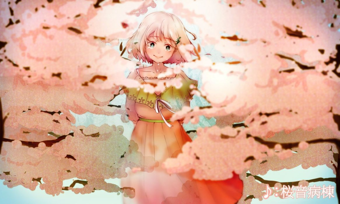 cherry blossoms ia palu (zumiharu) short hair tears vocaloid wallpaper
