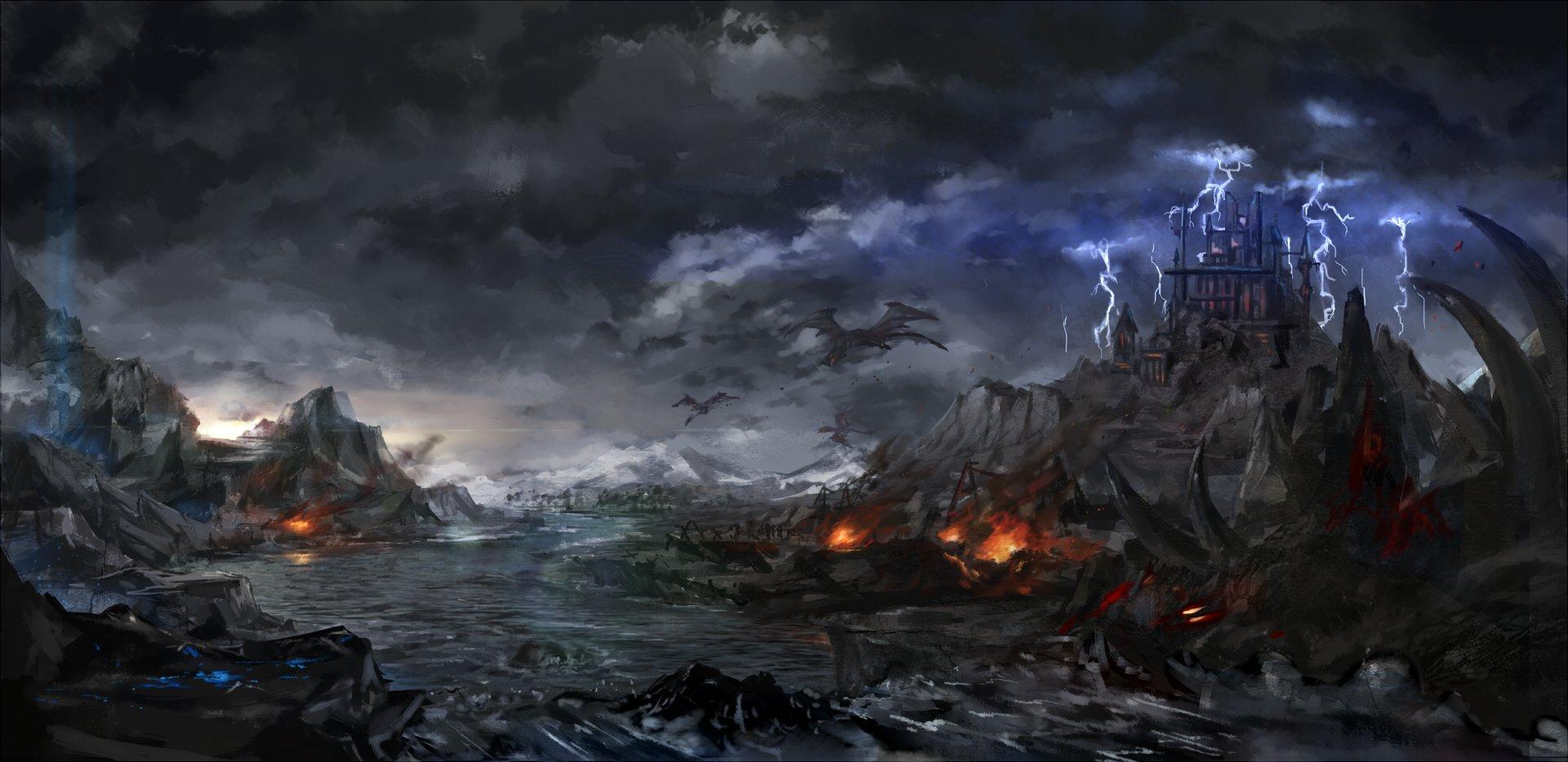 Clouds C_z_ Dark Landscape Pixiv Fantasia Scenic Sky Water