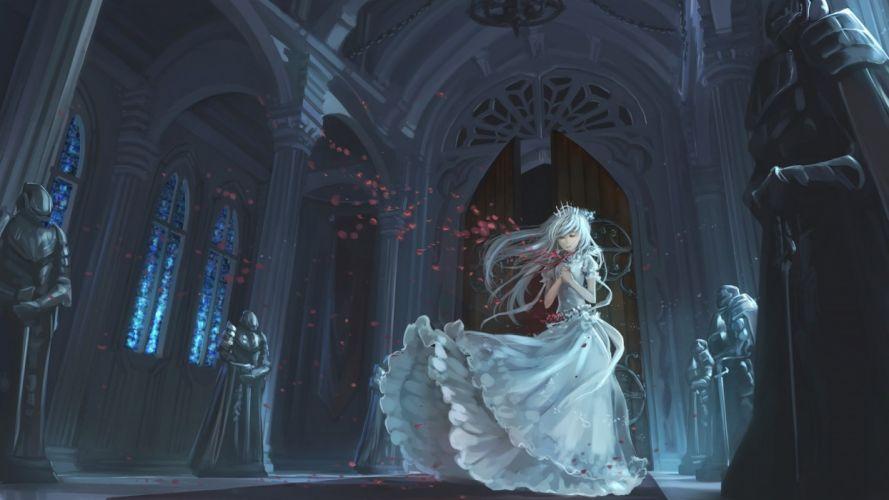 crown dress jpeg artifacts ks original petals white hair wallpaper