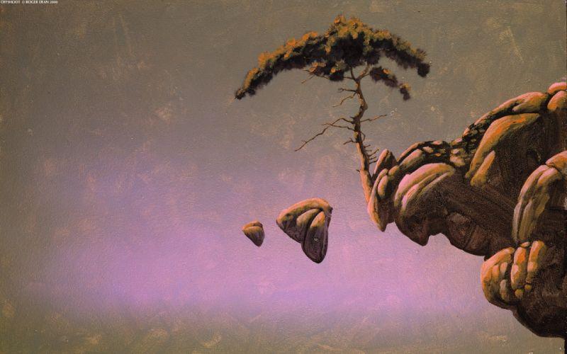 trees rocks Roger Dean artwork wallpaper