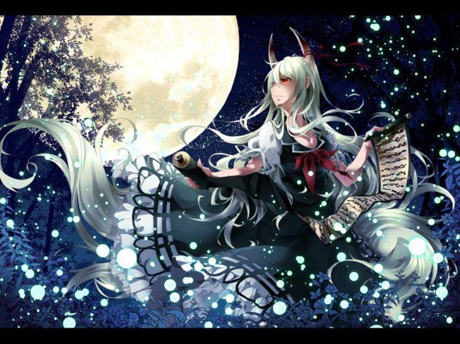 ex keine green hair horns kamishirasawa keine moon night red eyes sky stars tail touhou toutenkou tree wallpaper