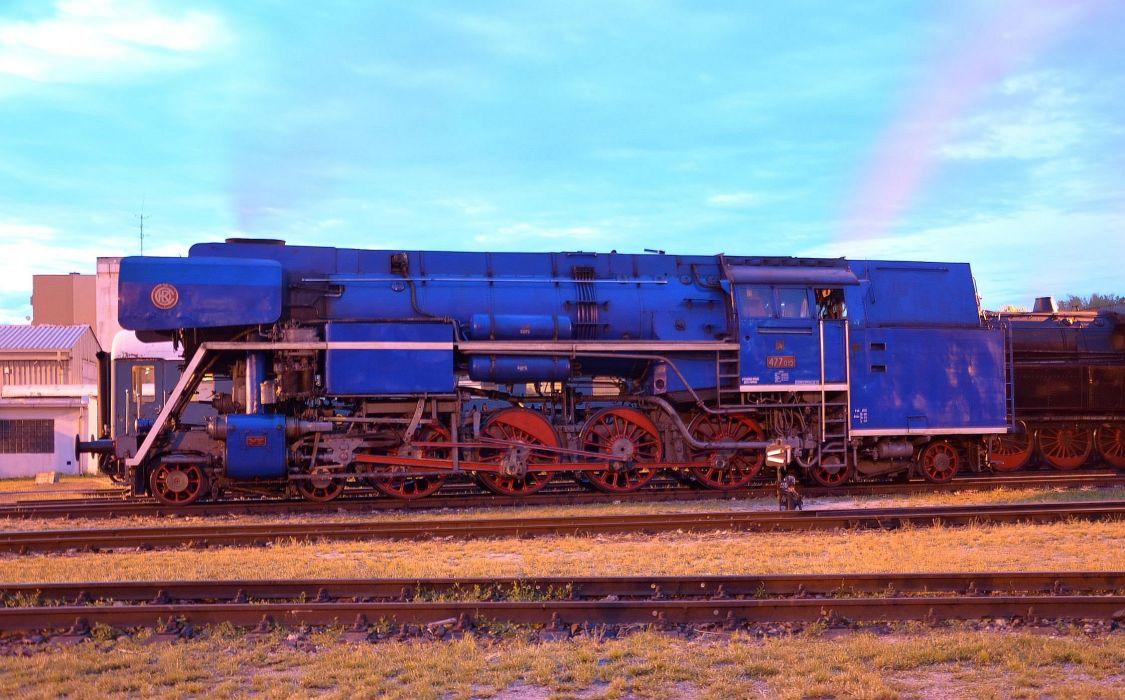 Czech steam locomotive 477_013 on display wallpaper