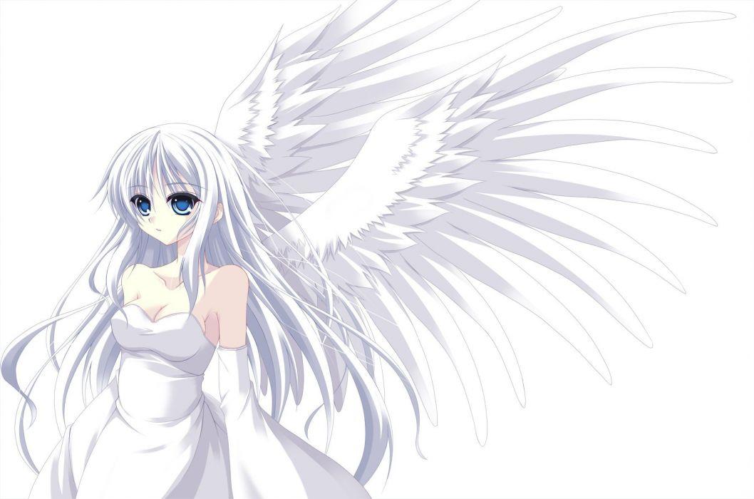 wings blue eyes white hair anime girls wallpaper