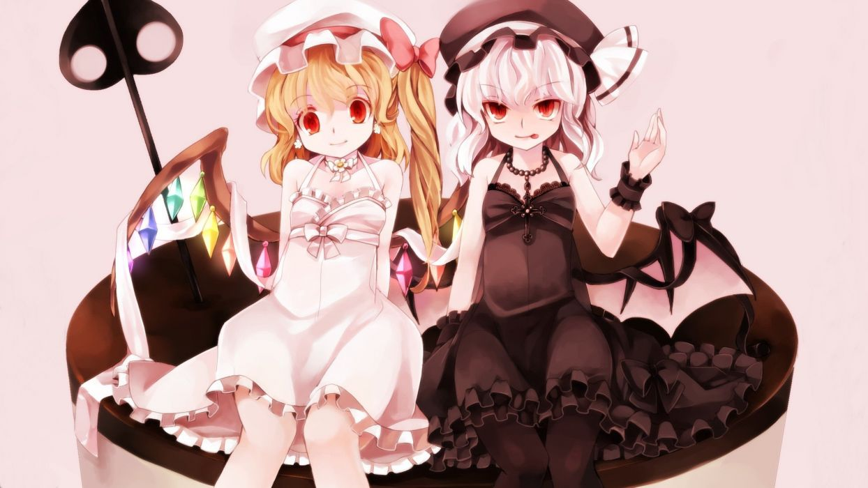 blondes video games Touhou wings cross dress long hair ribbons weapons tongue vampires pantyhose red eyes short hair bows earrings sitting necklaces sisters jewelry spears ponytails white hair Flandre Scarlet choker white dress cuffs hats Remilia Scarlet  wallpaper