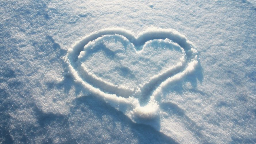 nature snow hearts wallpaper