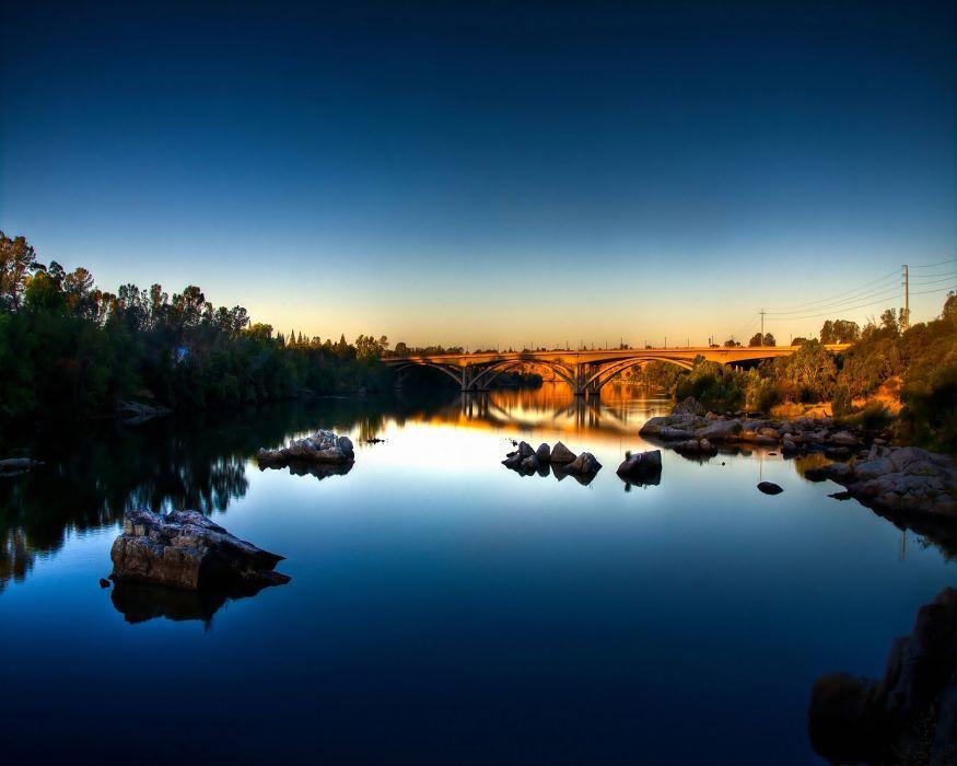 landscapes nature rocks bridges calm HDR photography rivers reflections blue skies wallpaper