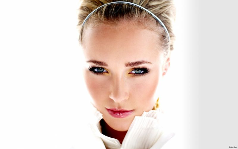 blondes women actress Hayden Panettiere celebrity faces white background wallpaper