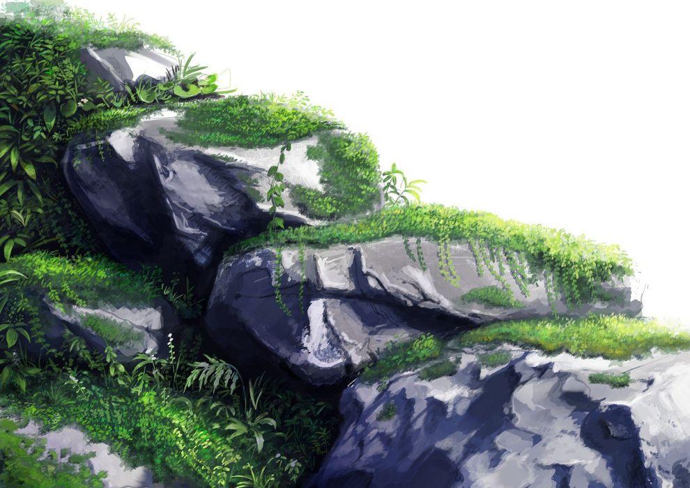 rocks scenic drawings anime anime girls wallpaper