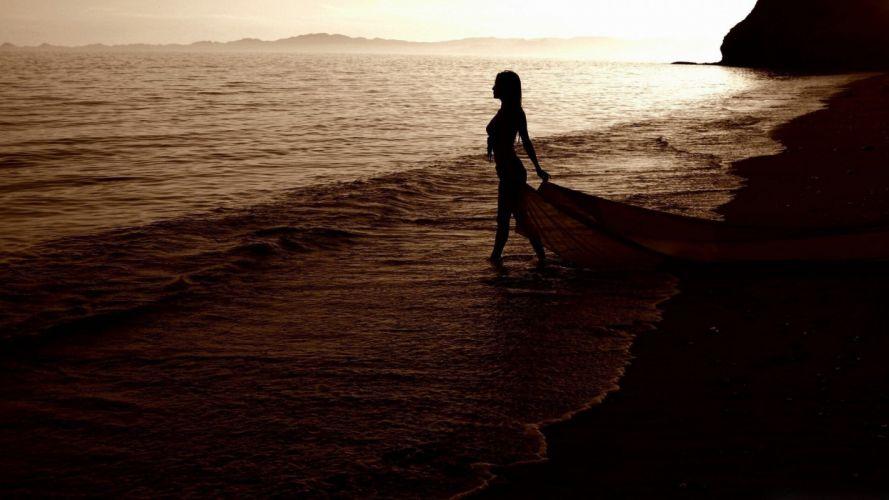 women water ocean silhouettes sepia sea wallpaper