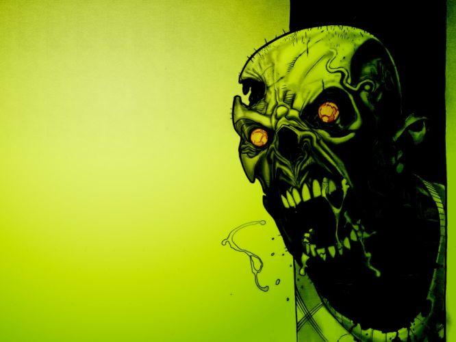 skulls zombies fantasy art wallpaper