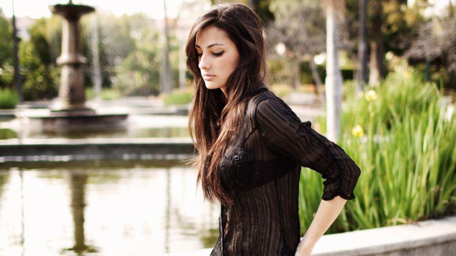 brunettes women models Olga Safari wallpaper