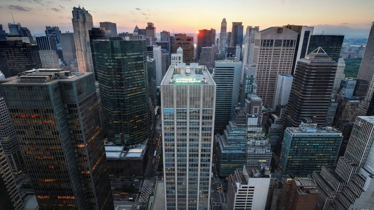 sunset cityscapes architecture skyscrapers wallpaper