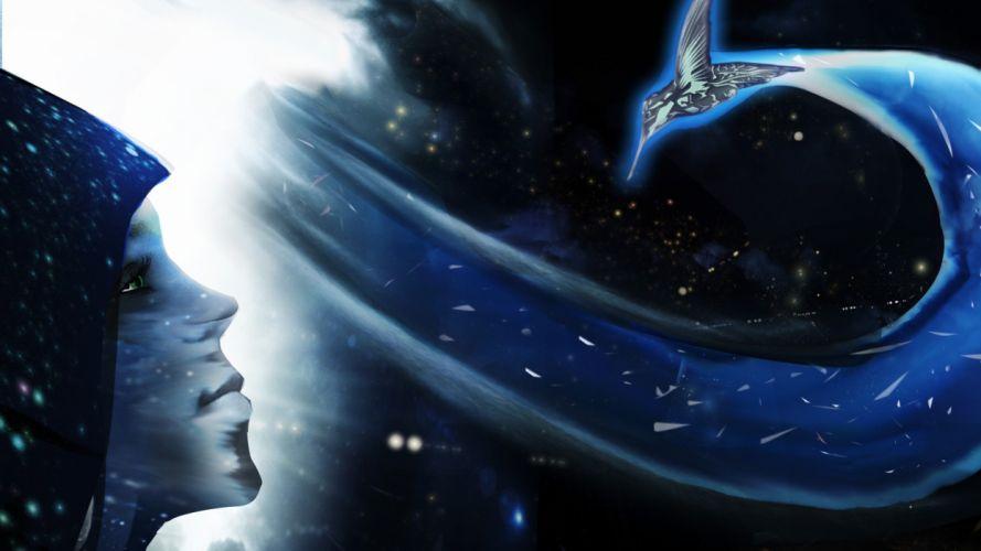 women blue multicolor fantasy art digital art Whitney wallpaper