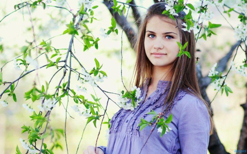 brunettes women blue eyes outdoors wallpaper