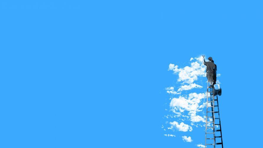 blue clouds paint artwork boys ladder painters paint brushes blue background wallpaper