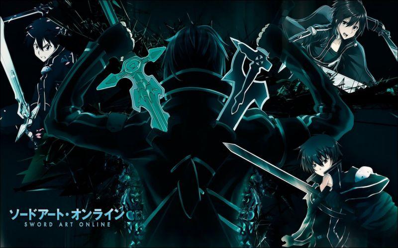 blue black text RPG weapons anime anime boys swords black clothes Sword Art Online Kirigaya Kazuto wallpaper