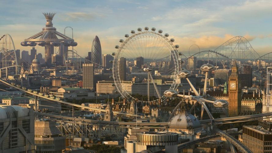 cityscapes fake CGI London London Eye Big Ben future cities photo manipulations Roller coaster wallpaper