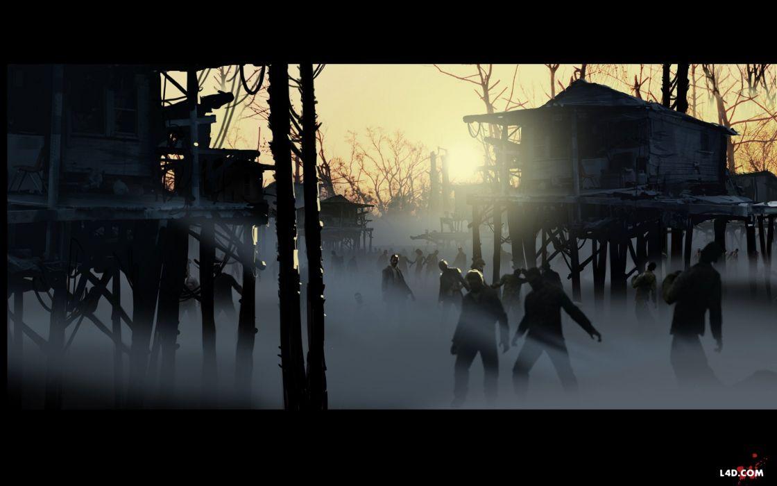 sunset zombies fog Left 4 Dead wallpaper