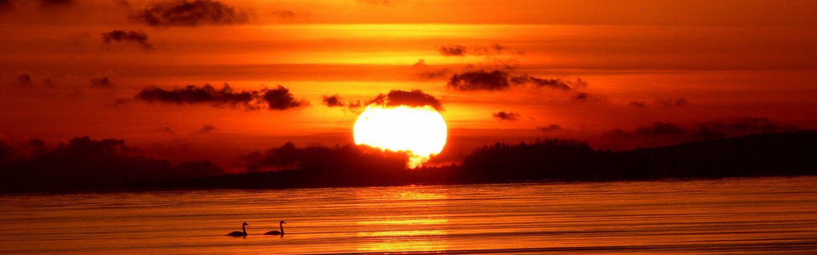 sunset Sun sea wallpaper