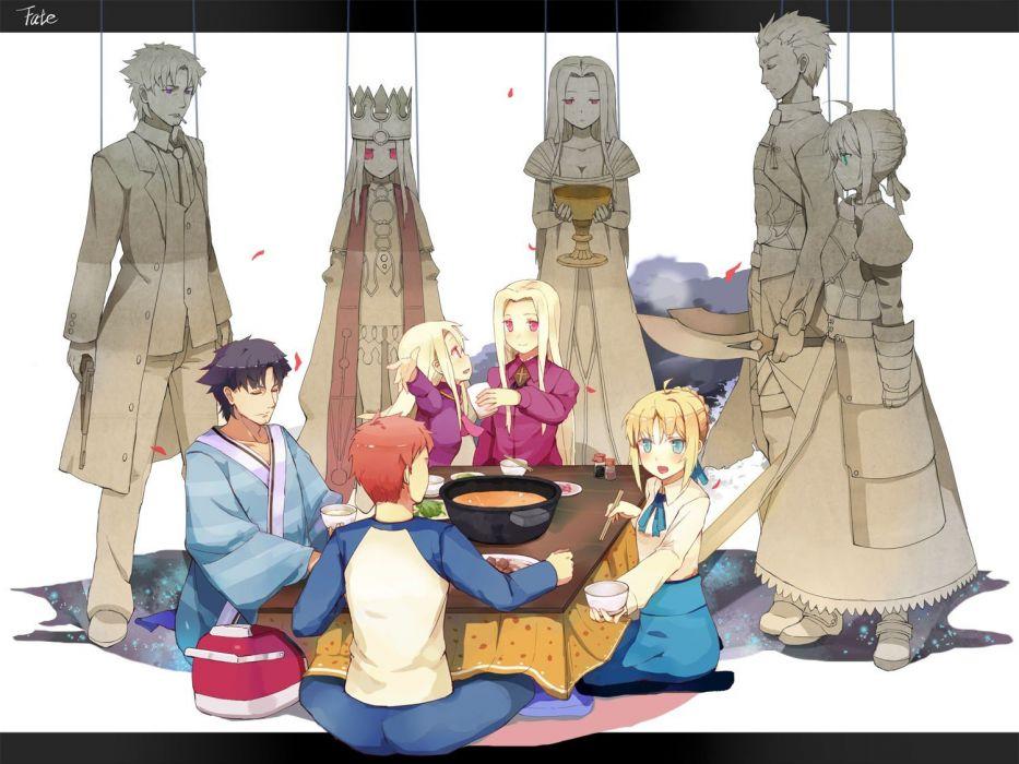 night Emiya Shirou Saber  Fate/Zero Archer (Fate/Stay Night) Irisviel von Einzbern Emiya Kiritsugu Fate series Illyasviel von Einzbern wallpaper