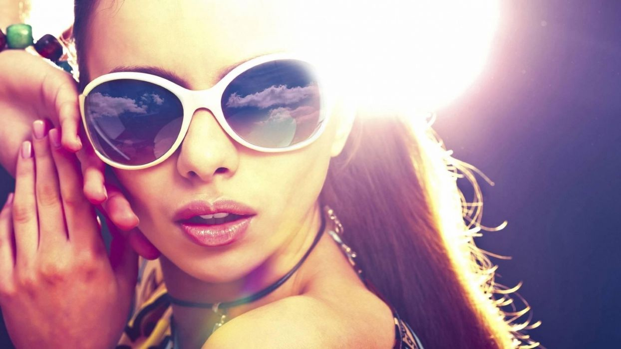 brunettes women sunglasses faces wallpaper