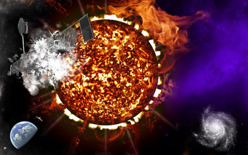 Sun outer space fire satellite wallpaper