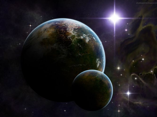 light outer space planets digital art bright wallpaper
