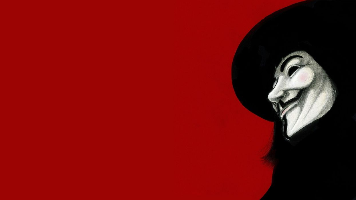 movies Guy Fawkes V for Vendetta fan art red background wallpaper