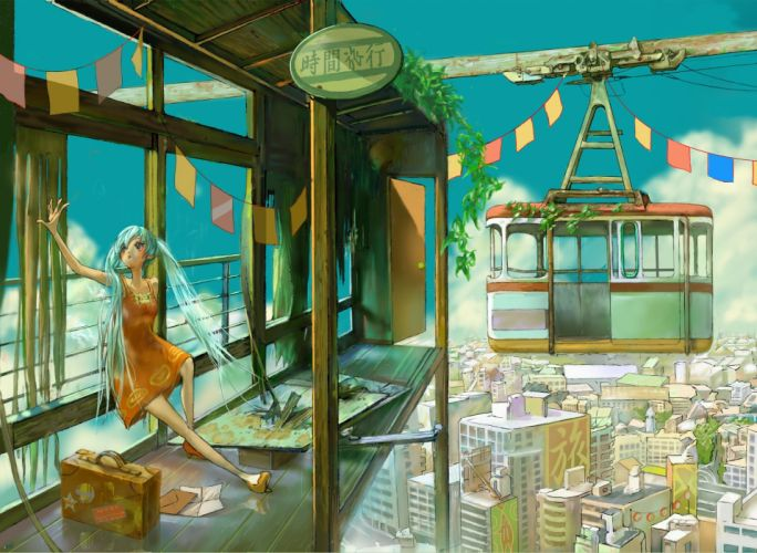 clouds cityscapes Vocaloid dress Hatsune Miku long hair buildings plants high heels twintails scenic sitting gray eyes aqua hair skyscapes orange dress blue skies wallpaper