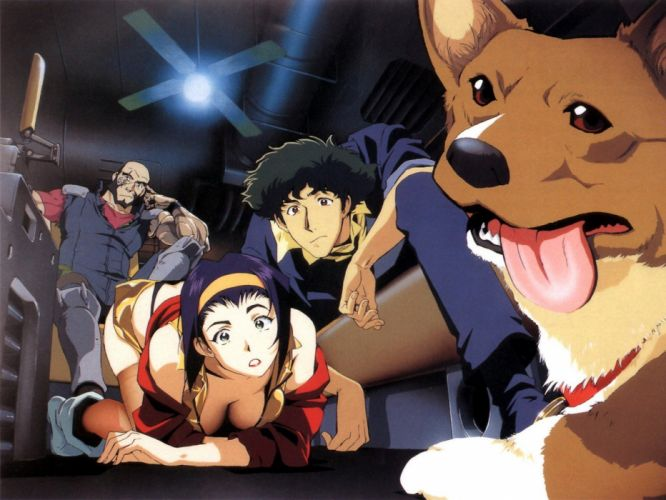 outer space Cowboy Bebop cleavage dogs Ein Spike Spiegel science fiction bounty hunter Faye Valentine (Cowboy Bebop) anime wallpaper