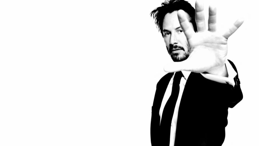men Keanu Reeves monochrome actors white background wallpaper