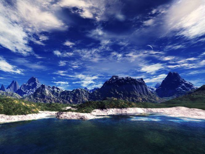 3D view landscapes wallpaper
