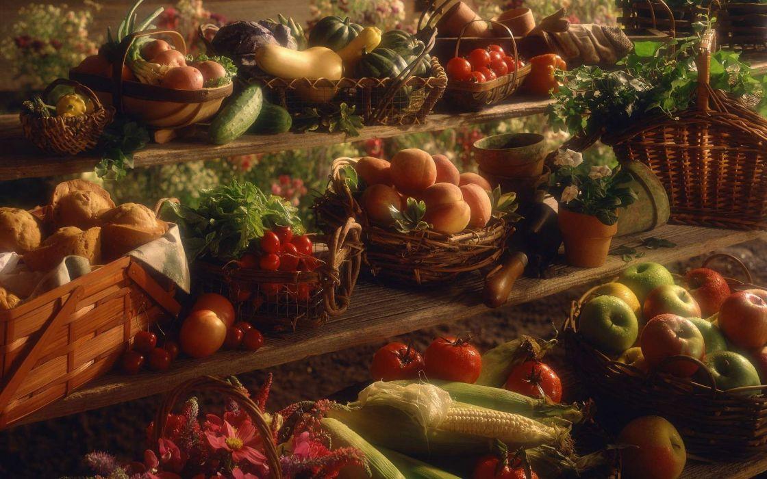 food baskets apples still life wallpaper