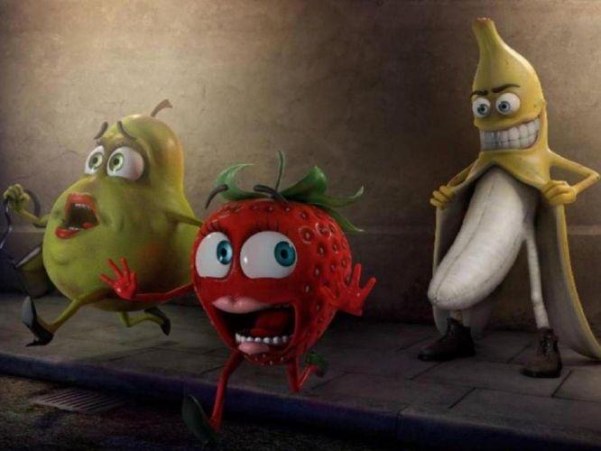 streets fruits funny bananas artwork running strawberries erotic artwork pears berry danger panic wallpaper