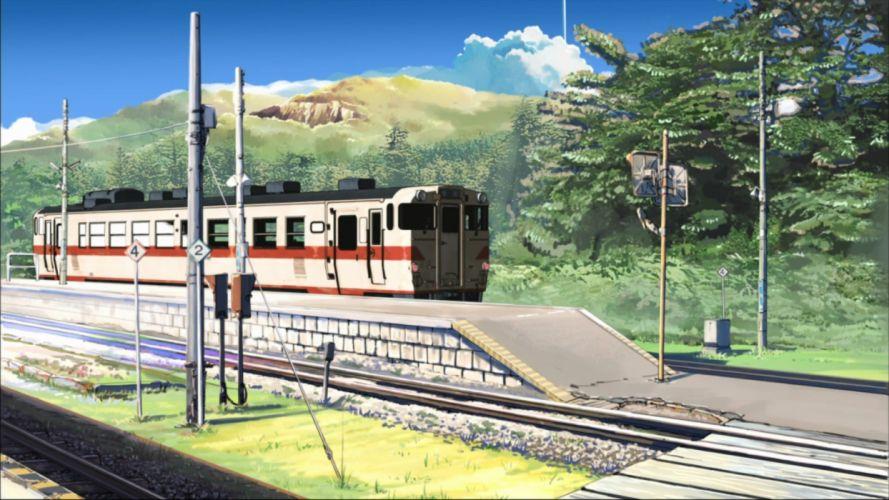 trains Makoto Shinkai anime Beyond The Clouds railroads wallpaper