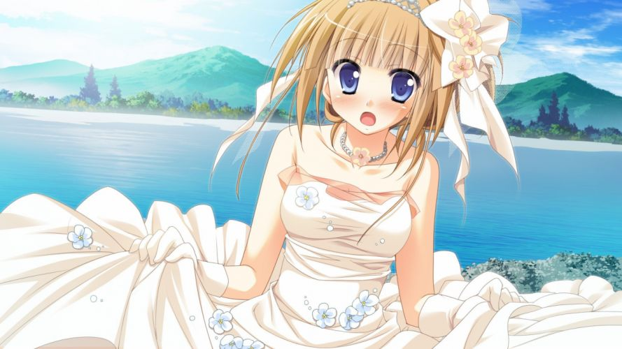 blondes water mountains clouds nature trees gloves dress flowers blue eyes long hair visual novels blush open mouth jewelry lakes wedding dresses anime girls hair band wallpaper