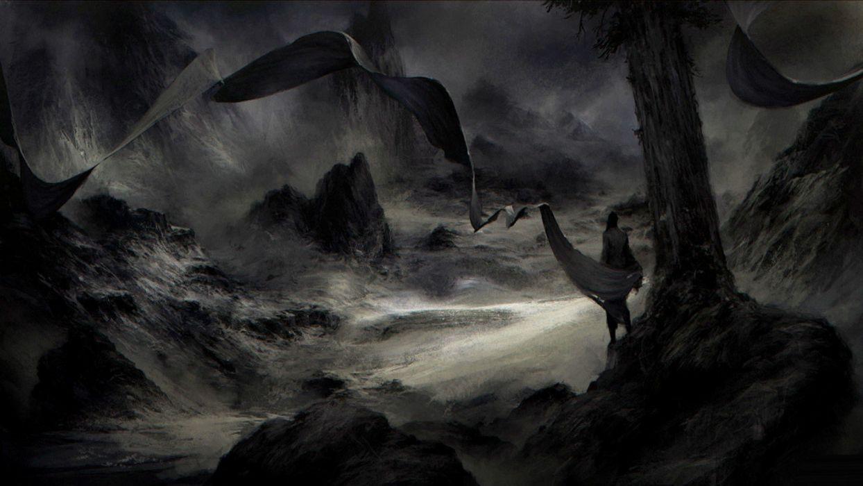 Black Dark Fantasy Art Wallpaper 1600x900 307911 Wallpaperup